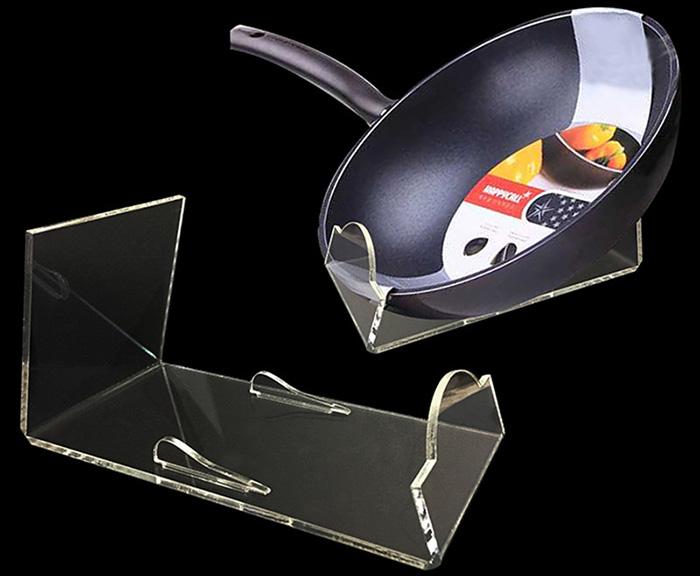 炒鍋L形透明支撐膠托架
