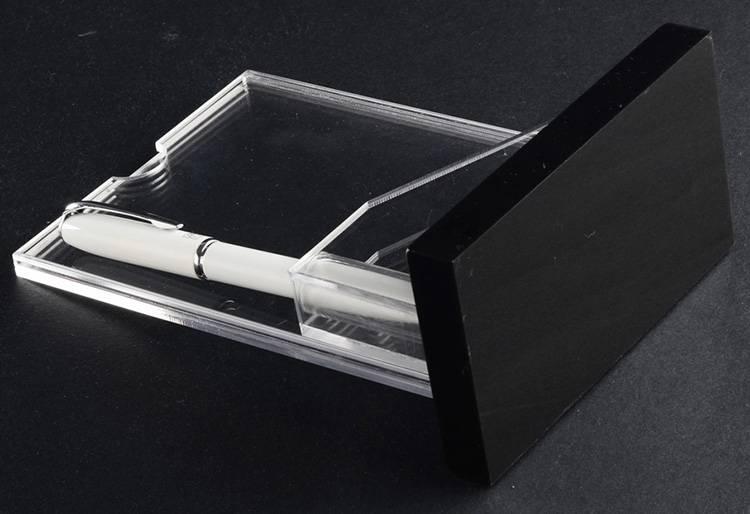 XH00249 倒T型帶筆槽透明插咭架