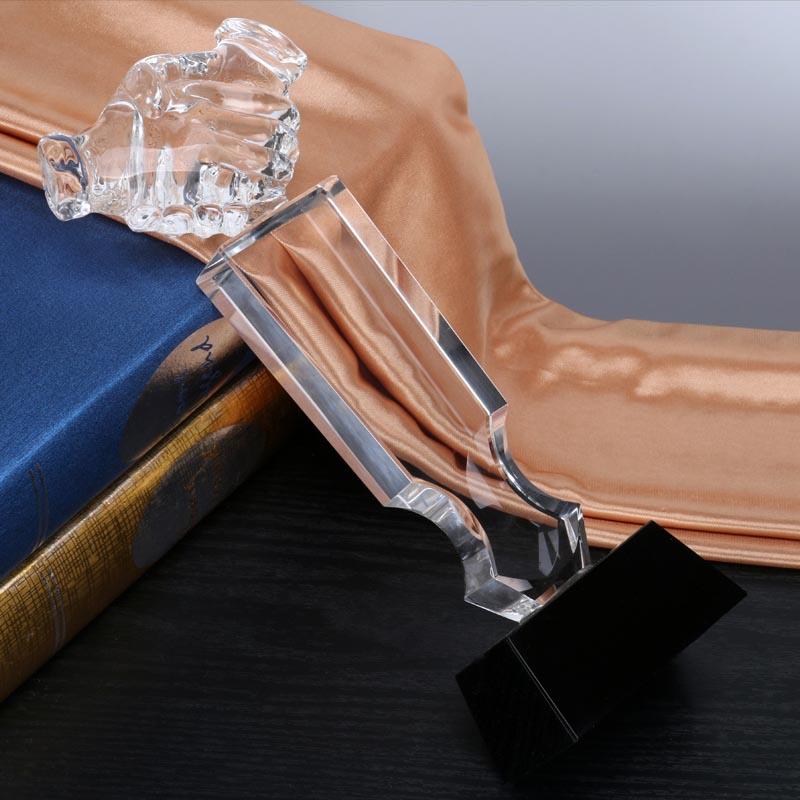 握手水晶獎杯